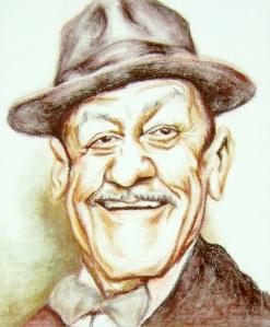Reprodução do retrato de Adoniran Barbosa do artista plástico Daniel Costa de Souza, um dos artistas locais que participa do show dos Demônios da Garoa